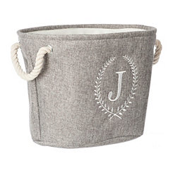 Gray Laurel Monogram J Storage Bin