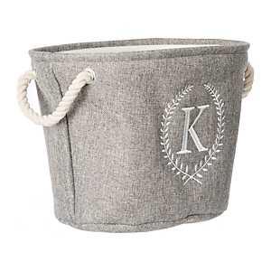 Gray Laurel Monogram K Storage Bin