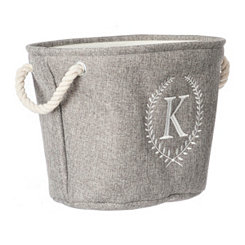 Gray Laurel Monogram K Storage Bin