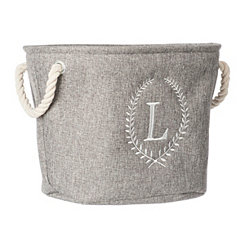 Gray Laurel Monogram L Storage Bin