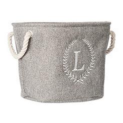 Gray Laurel Monogram L Storage Bin