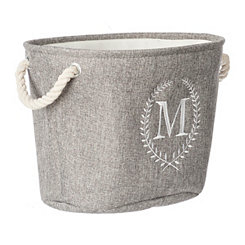 Gray Laurel Monogram M Storage Bin