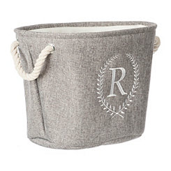 Gray Laurel Monogram R Storage Bin