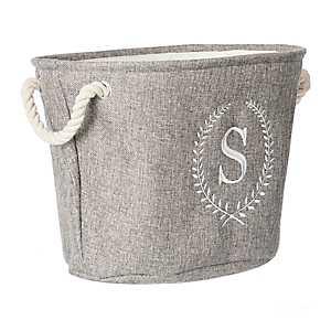 Gray Laurel Monogram S Storage Bin