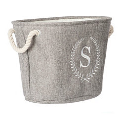 Gray Laurel Monogram S Storage Bin