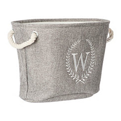 Gray Laurel Monogram W Storage Bin