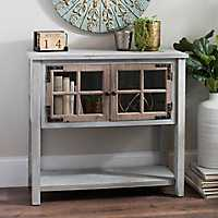 Distressed Blue-Gray Windowpane Console Table