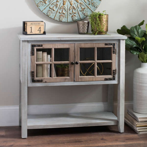 distressed bluegray windowpane console table