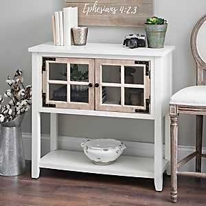Distressed Cream Windowpane Console Table