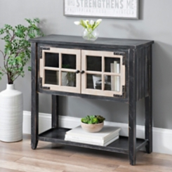Distressed Black Windowpane Console Table