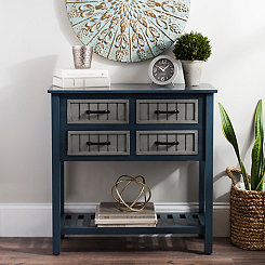 Blue and Gray Beadboard 4-Drawer Console Table