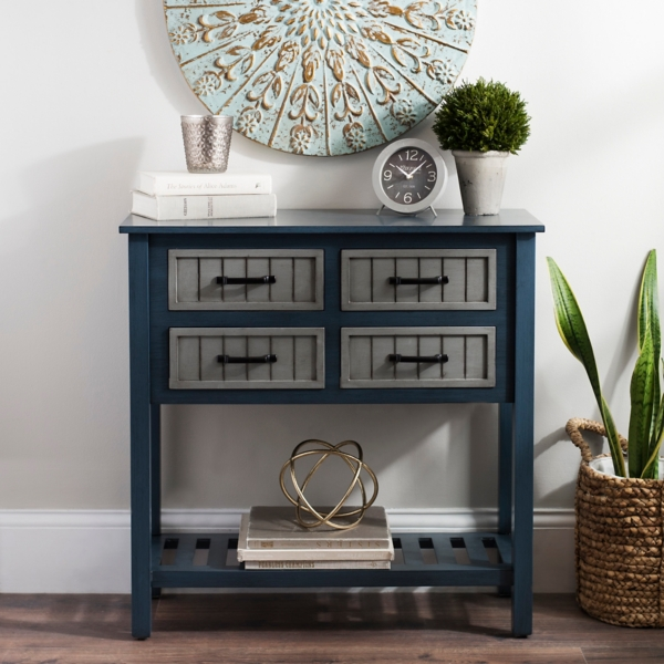 Blue And Gray Beadboard 4 Drawer Console Table Part 73