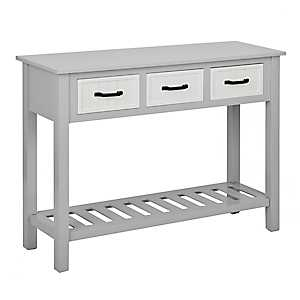 Gray and White Beadboard 3-Drawer Console Table