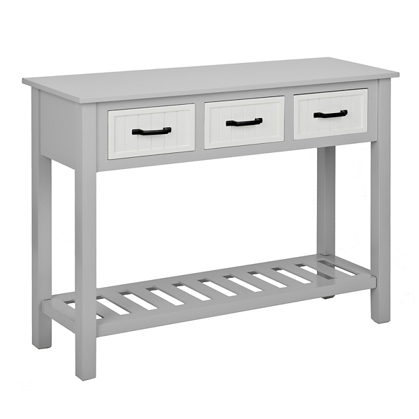 gray and white beadboard 3drawer console table