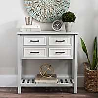 Gray and White Beadboard 4-Drawer Console Table
