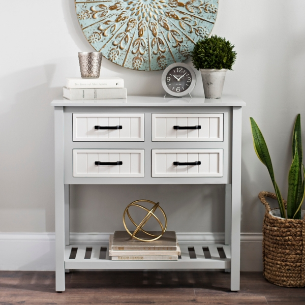 Gray And White Beadboard 4 Drawer Console Table