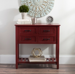 Red with Black Beadboard 4-Drawer Console Table