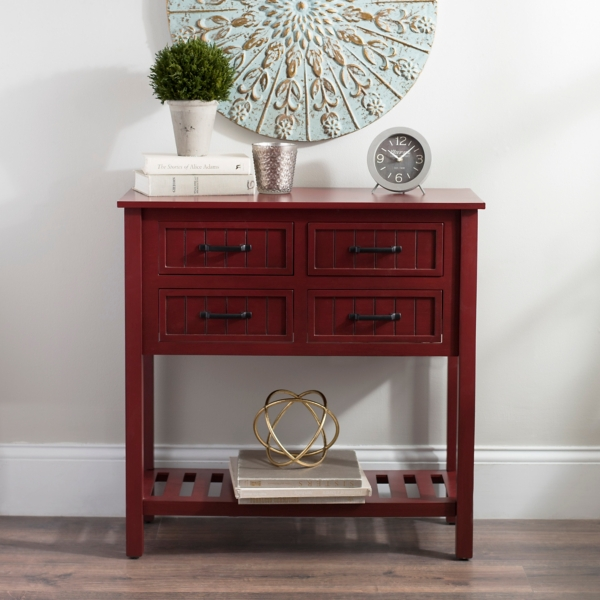 Attractive Red With Black Beadboard 4 Drawer Console Table