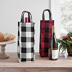 Buffalo Check Wine Totes