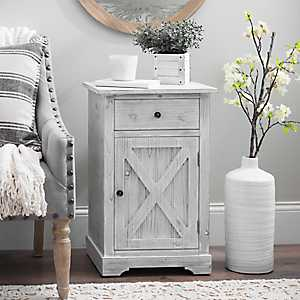 Whitewashed Gray Rustic Side Table