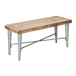 Wood Top Galvanized Metal Bench