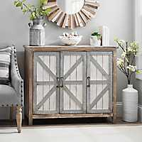 Galvanized Barn Door 3-Door Cabinet