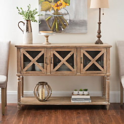Wood and Glass Barn Door Console Table