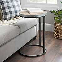 Natural Wood Plank and Galvanized Metal C-Table