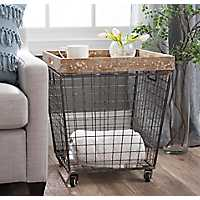 Industrial Wire Crate Accent Table