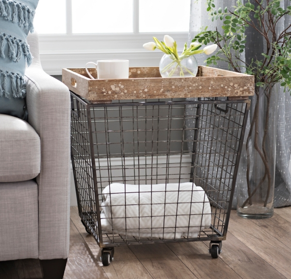 Wonderful Industrial Wire Crate Accent Table