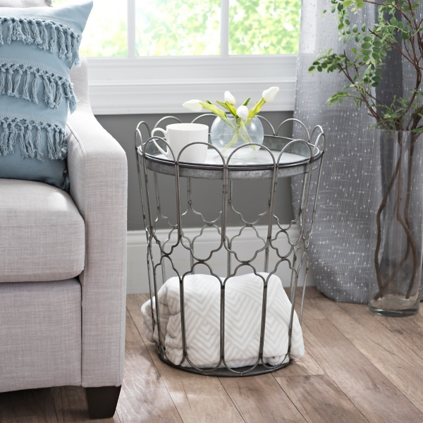 Galvanized Metal Scalloped Storage Accent Table