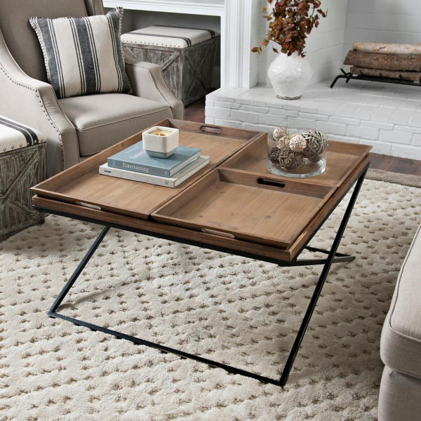 X Frame Wood And Metal Coffee Table With Trays
