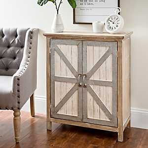 Galvanized Barn Door 2-Door Cabinet
