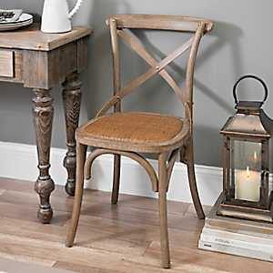 Weathered X-Back Dining Chair