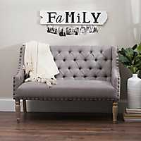 Button Tufted Gray Settee