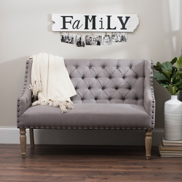 medallion velvet swoop accent chair button tufted gray settee