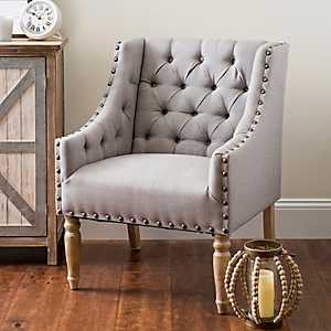 Button Tufted Gray Accent Chair
