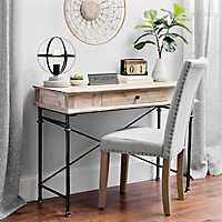 Whitewashed Natural Wood 1-Drawer Console Table