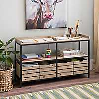 2-Tier Wood and Metal Shelf with Drawers
