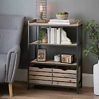 3-Tier Wood and Metal Shelf with Drawers