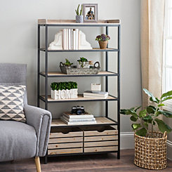 5-Tier Wood and Metal Shelf with Drawers