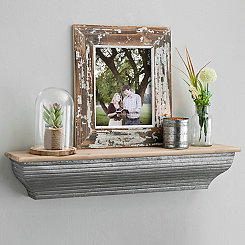 Galvanized Metal Wall Shelf, 24 in.