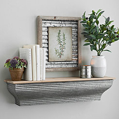 Galvanized Metal Wall Shelf, 29 in.