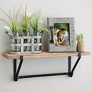 Natural Wood and Iron Wall Shelf