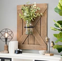 Barn Door Wall Plaque with Glass Vase