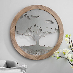 Tree of Life Wood and Metal Wall Plaque