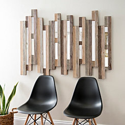 Natural Wooden Planks Mirrored Wall Plaque