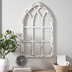 Antiqued White Window Pane Arch Plaque