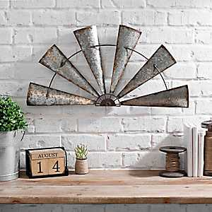 Rustic Galvanized Metal Half Windmill Wall Plaque