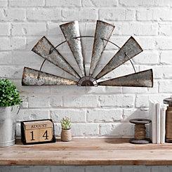 Rustic Galvanized Metal Half Windmill Wall Plaque